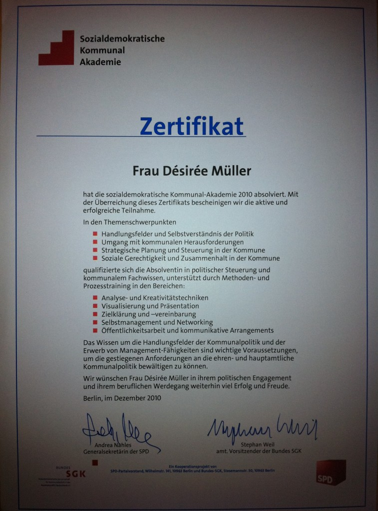 """Zertifikat zur """"Sozialdemokratischen Kommunalakademie"""""""
